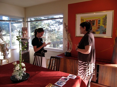 Photo of Janette being interviewed by Laura Callahan